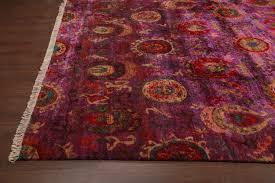 rugsville ikat red rust sari silk 30013 8x10 rug