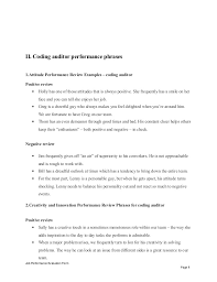 coding auditor performance appraisal  evaluation form page 7 8
