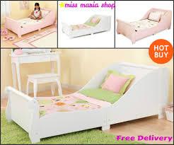 Kids Bedroom Furniture White Girls Single Bed White Pink Sleigh Toddlers Kids Bedroom Furniture