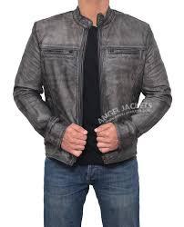 Garcia Distressed Dark Grey Casual Slim Biker Leather Jacket