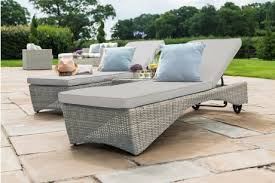 maze rattan oxford pair sun lounger set with coffee table in natural round weave colour