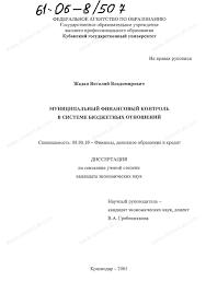 Диссертация на тему Муниципальный финансовый контроль в системе  Диссертация и автореферат на тему Муниципальный финансовый контроль в системе бюджетных отношений dissercat