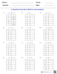 math worksheets function table worksheets