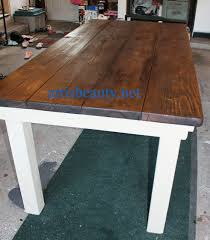 diy farmhouse table with provincial stained top and cece caldwell chalk painted legs featured on