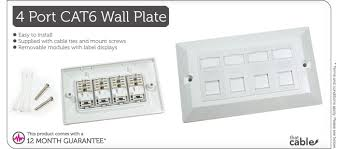 quad cat data wall outlet face plate port rj ethernet quad rj45 cat6 wall socket