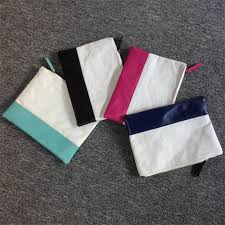whole blanks cotton canvas pu faux leather patchwork joint cosmetic bag makeup with diffe colors dom103317