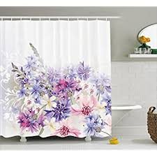 floral shower curtain. Lavender Shower Curtain Set By Ambesonne, Pink Purple Cornflowers Bridal Classic Design Gentle Floral Art I