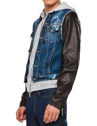 dsquared2 hell s angels leather sleeve denim jacket