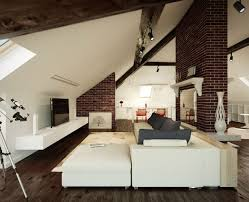 Decorations:White Color Bedroom Loft Style Country House Living Room Loft  Brick Walls Interior Design