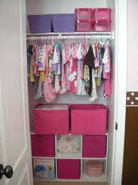 Decorations:Closet Storage Ideas For Babies With White Iron Rod Hanger Also  Pink Container Closet