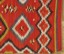 american antique navajo blanket oriental rug handmade wool rug red color for