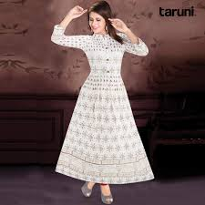 Buy A White Printed Cotton Gown Style Kurti Online