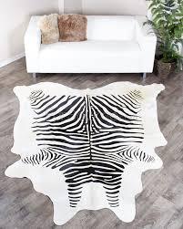 zebra print cowhide rug black on white
