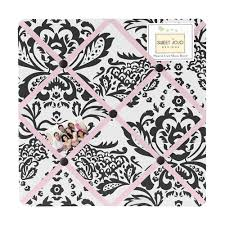 Damask Memo Board Black White Pink Damask Fabric Memo Board French Ribbon Notice 35