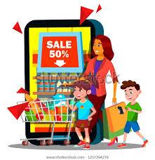 Online Shopping Mother Children Shopping Chart Stock