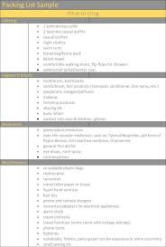 Sample Travel Packing List Packing List Template Holiday Travel Packing Lists In Word Excel