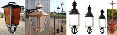 traditional antique original reion outdoor garden or driveway lighting metal lanterns and cast iron lamp