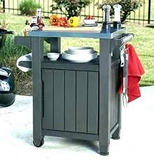 prep outdoor serving station patio and storage cabinet food table unity indoor cart with grey