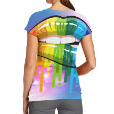 Women Lesbian Rainbow Lips Classic 3d Creative Print T Shirt