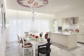 luxurious alight kitchen classic carved white painted mahogany dining table and chic shaped chairs set with awesome black painted mahogany