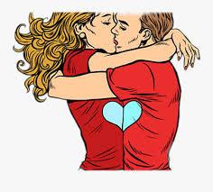 couple love kissing cartoon