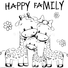 giraffe happy family coloring pages
