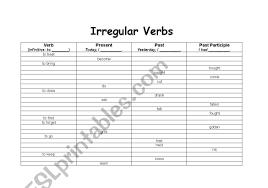 English Worksheets Irregular Verb Chart