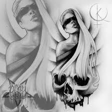 эскиз девушки с черепом подойдет для татуировки на ногу либо тату на