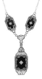 trufili whole filigree jewelryvictorian style black onyx filigree diamond necklace in fine sterling silver fn 186 o