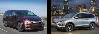 ... Side By Images Of A Maroon 2018 Honda Odyssey And Silver  Pilot