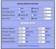 Density Altitude Computation Chart Where Can The Highest Air Density Be Found On Earth