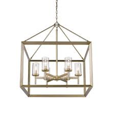 golden lighting smyth 6 light white gold chandelier with clear glass shade
