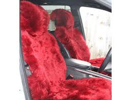 premium quality nz long wool sheepskin car seat cover wine red