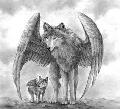 baby wolf drawing with wings. Winged Wolves Images Mother And Pup Wallpaper Baby Wolf Drawing With Wings