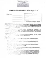 Residential Snow Removal Service Agreement Seasonal Rate Price Structure