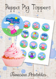 Peppa Pig Cupcake Toppers Peppa Pig Birthday Favors Printable