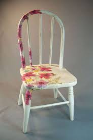 antique wooden child s chair with decoupage flowers and chalk paint finish