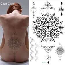 Mandala Totem Dočasné Tetování Samolepka Pro Tělo Umění Přenosu Vody Flash Tetování Fake Henna Tetování Pro Dívčí Hrudník Pas Zpátky