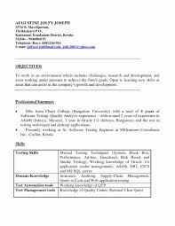 Sample Resume Format For Experienced Software Test Engineer New