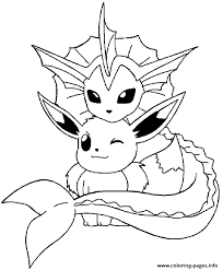Pokemon Coloring Pages Vaporeon And Eevee Printable