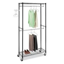 Rolling Coat Rack With Shelf Whitmor Supreme Double Rod Rolling Garment Rack Free Shipping 21