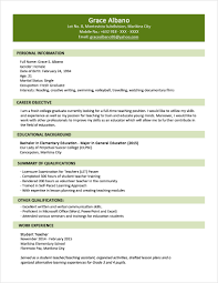 Free Resume Templates Sample Format For Fresh Graduates Two Page