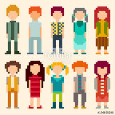 Pixel Character Template Set Of Pixel Art Style Characters Men And Women Standing On