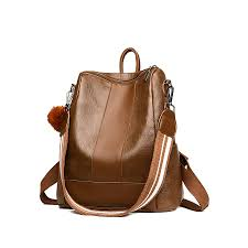 luxury design women pu leather backpack casual backpack