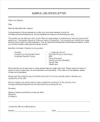 Sample Employment Offer Letter Template Job Offer Letter 9 Free Sample Example Format Free