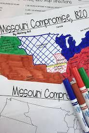 best missouri compromise ideas history  missouri compromise map activity