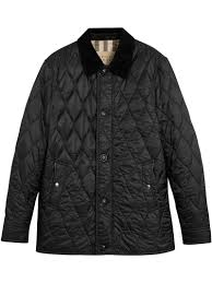 burberry gransworth leather elbow patch quilted jacket in black