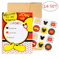mickey mouse party invitation pantide 24pcs mickey minnie mouse party invitation cards with mickey mouse stickers and envelopes double sided fill in blank cards for kids birthday