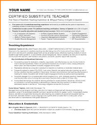 Substitute Teacher Job Description Resume For Image Examples