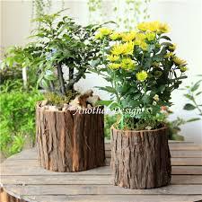 Natural wood veneer flower pots planters metal inside water proof zakka  vintage pots natural tree veneer
